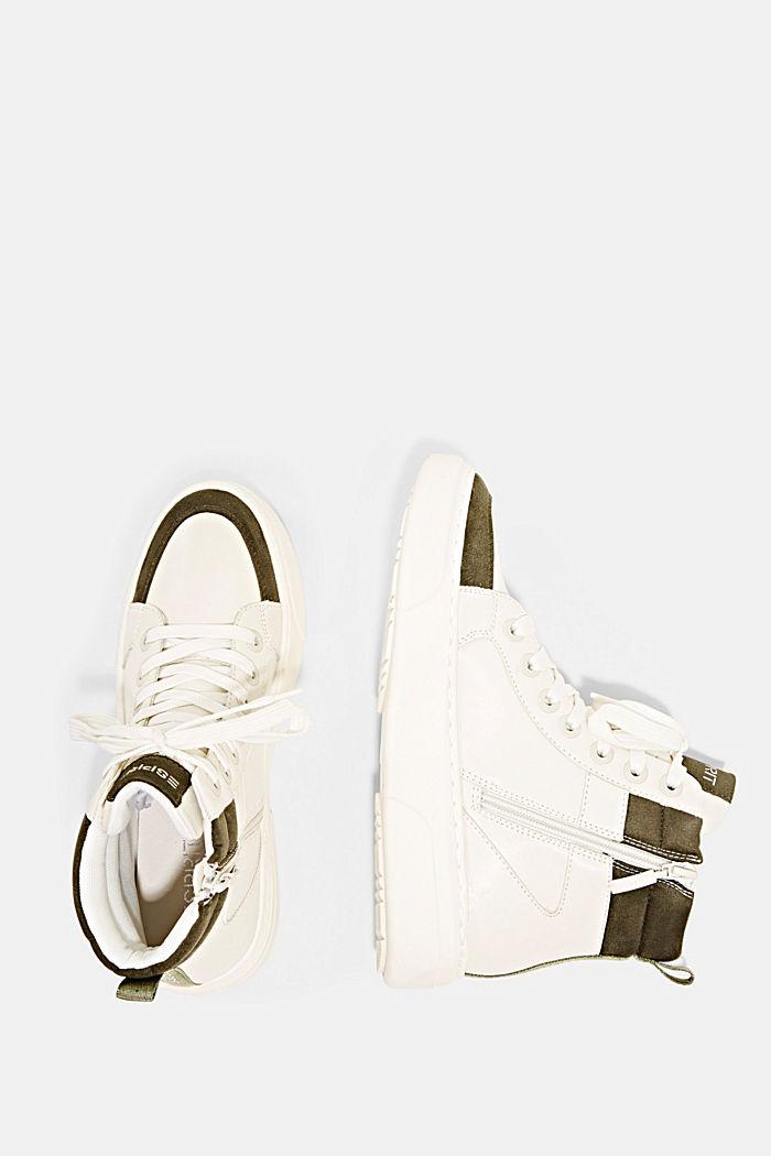 High Sneakers aus Materialmix in Lederoptik, SAND, detail image number 1