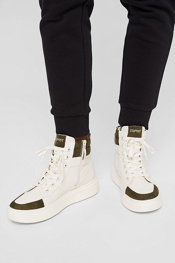 High Sneakers aus Materialmix in Lederoptik, SAND, detail image number 3