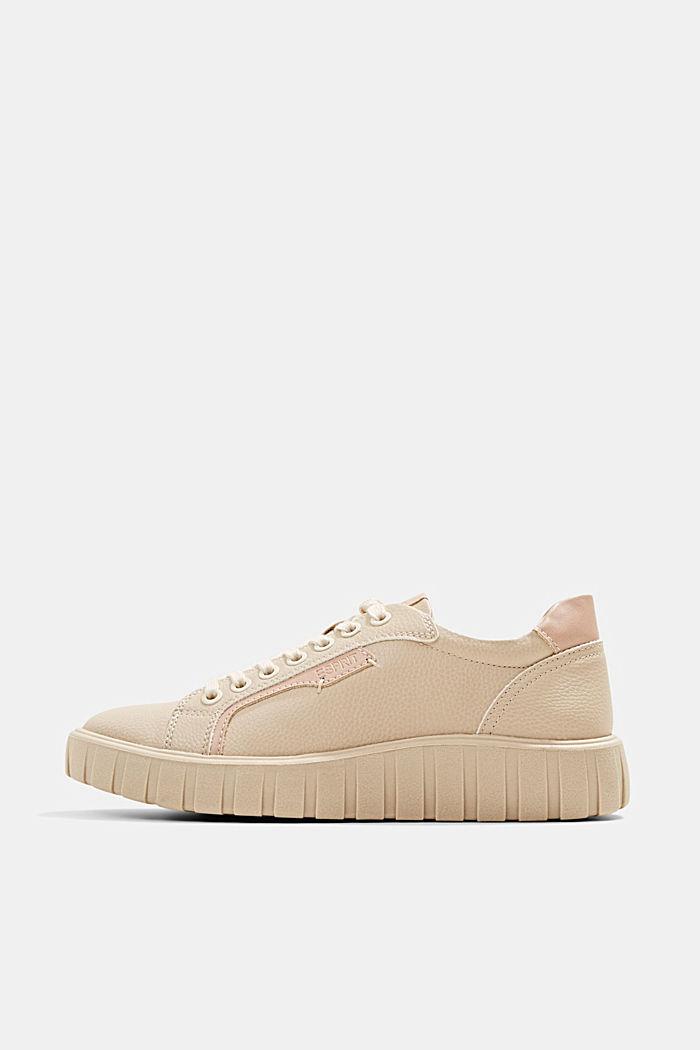 Sneakers met plateauzool, van imitatieleer, SAND, detail image number 0