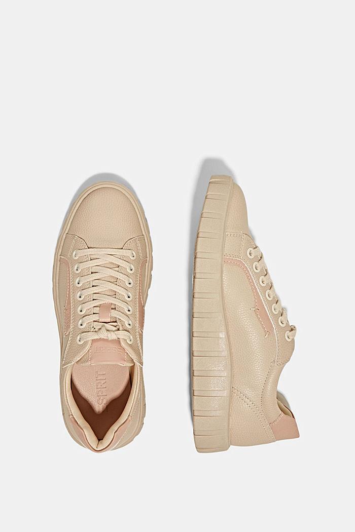 Sneakers met plateauzool, van imitatieleer, SAND, detail image number 1