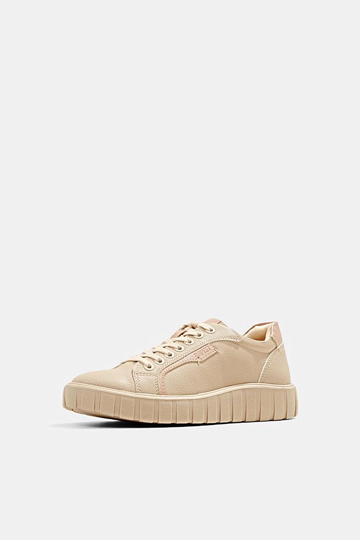 Sneakers met plateauzool, van imitatieleer, SAND, detail image number 2