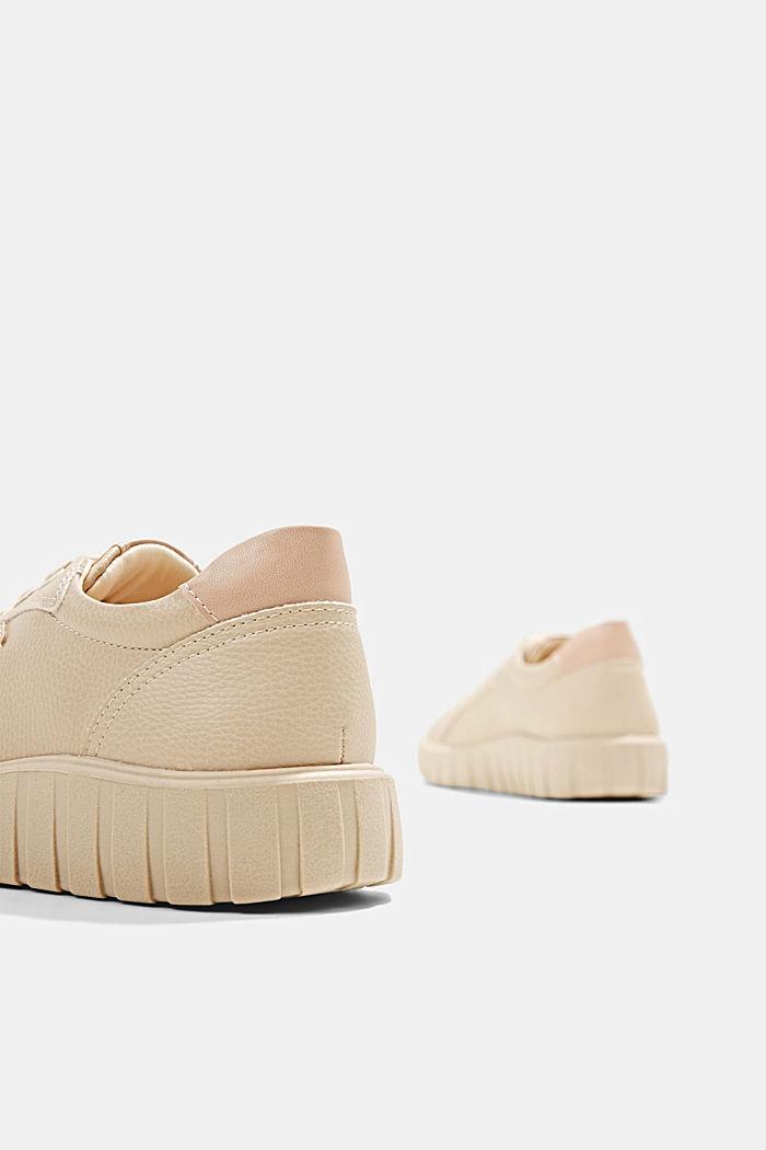 Sneakers met plateauzool, van imitatieleer, SAND, detail image number 5