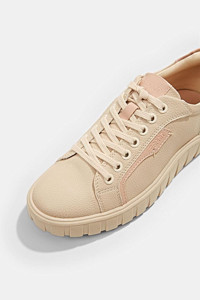 Sneakers met plateauzool, van imitatieleer, SAND, detail image number 4