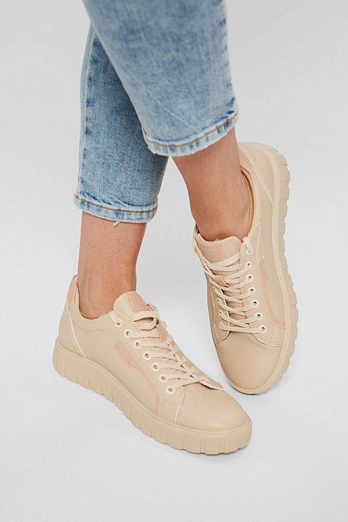 Sneakers met plateauzool, van imitatieleer, SAND, detail image number 3