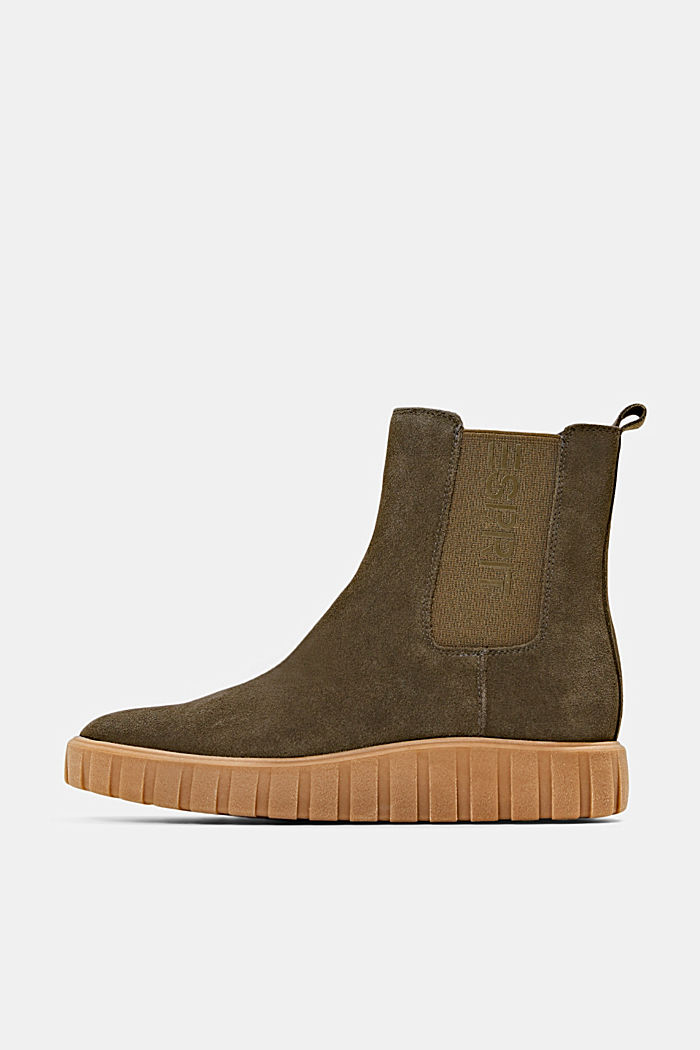 Slip-on boots made of suede with a platform sole, KHAKI GREEN, detail image number 0