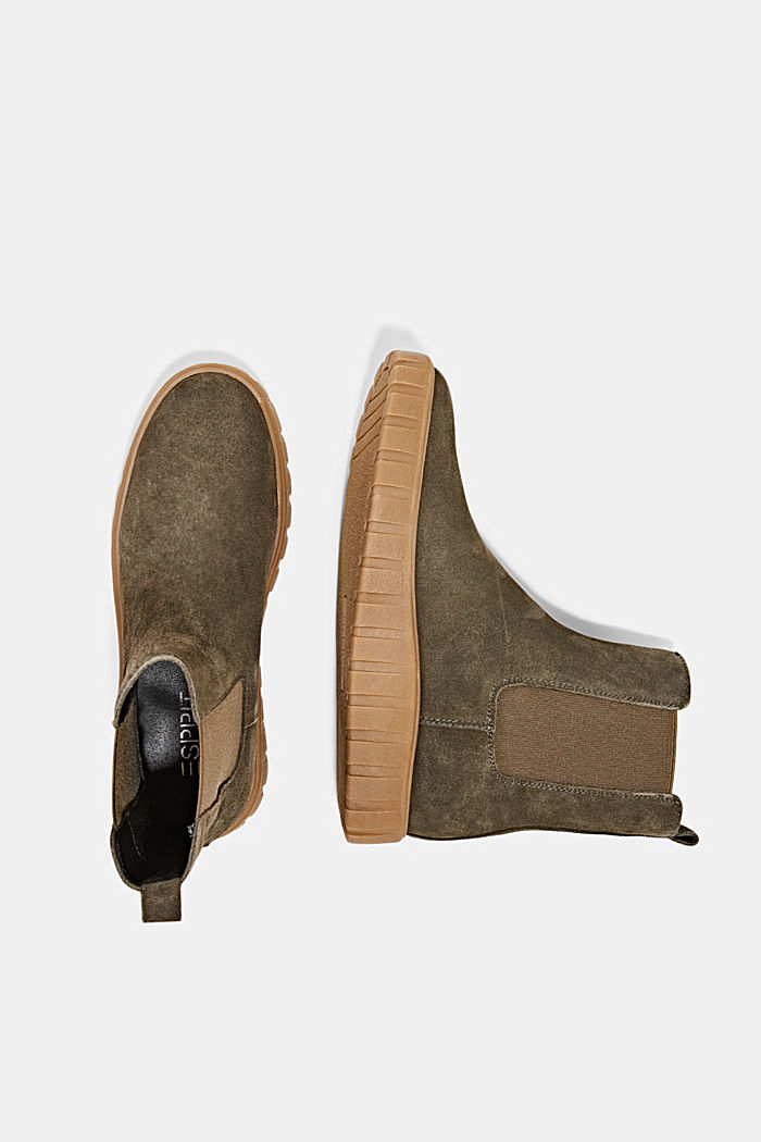 Slip-on boots made of suede with a platform sole, KHAKI GREEN, detail image number 1