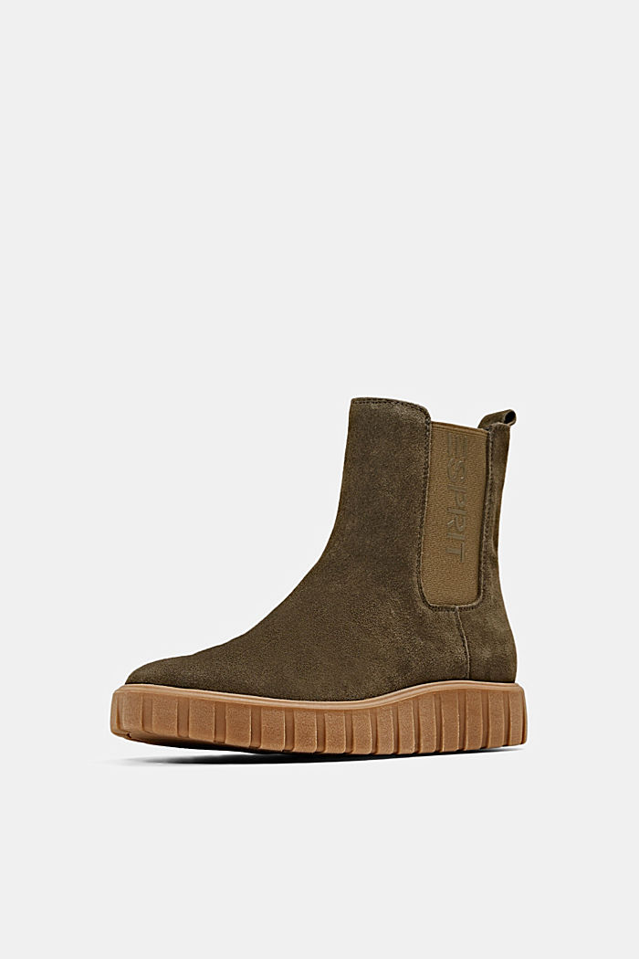 Slip-on boots made of suede with a platform sole, KHAKI GREEN, detail image number 2