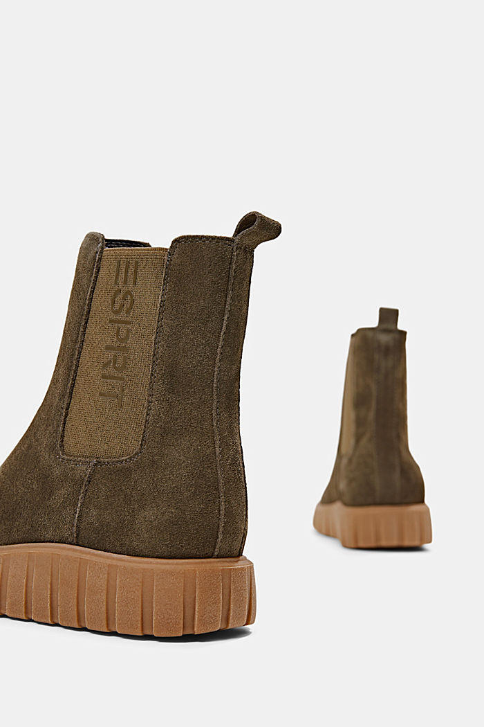 Slip-on boots made of suede with a platform sole, KHAKI GREEN, detail image number 5