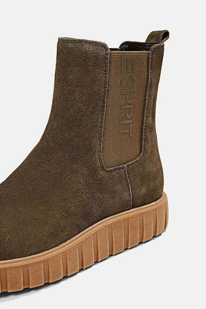 Slip-on boots made of suede with a platform sole, KHAKI GREEN, detail image number 4