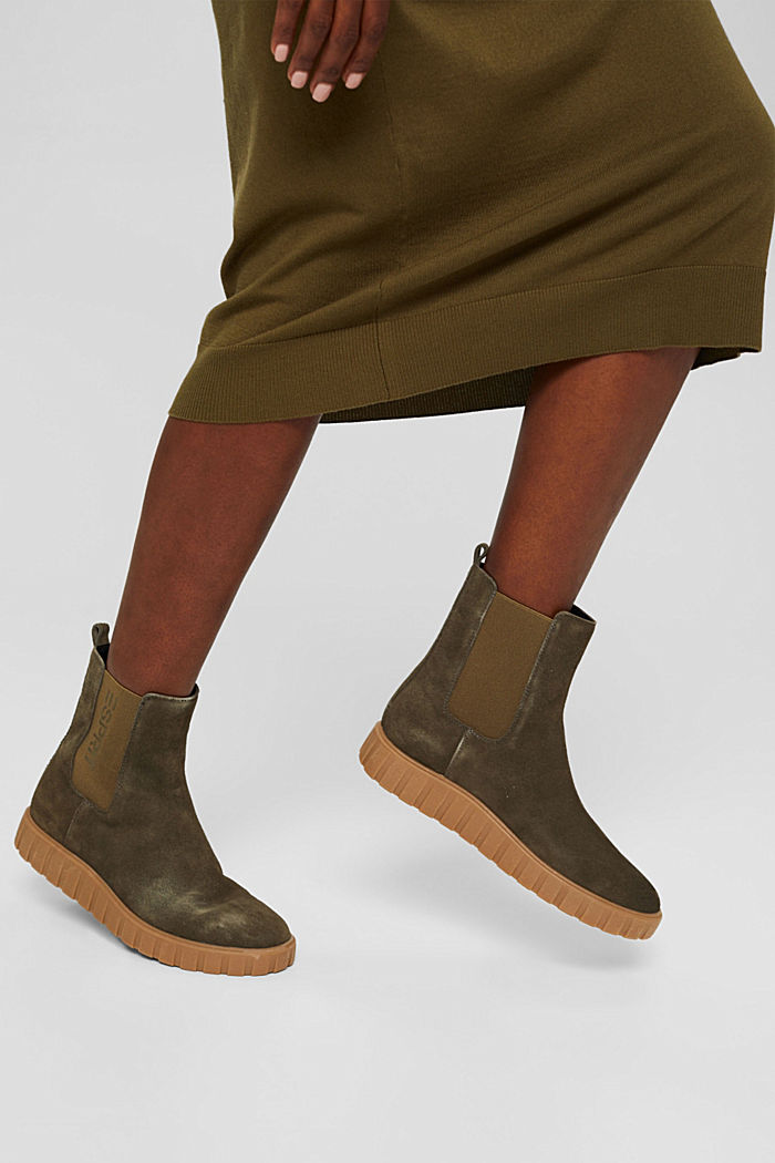 Slip-on boots made of suede with a platform sole, KHAKI GREEN, detail image number 3