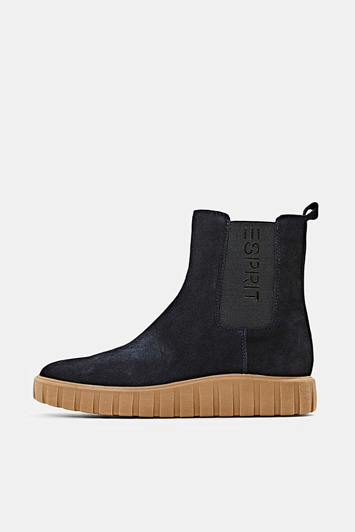 Slip-on boots made of suede with a platform sole, NAVY, detail image number 0