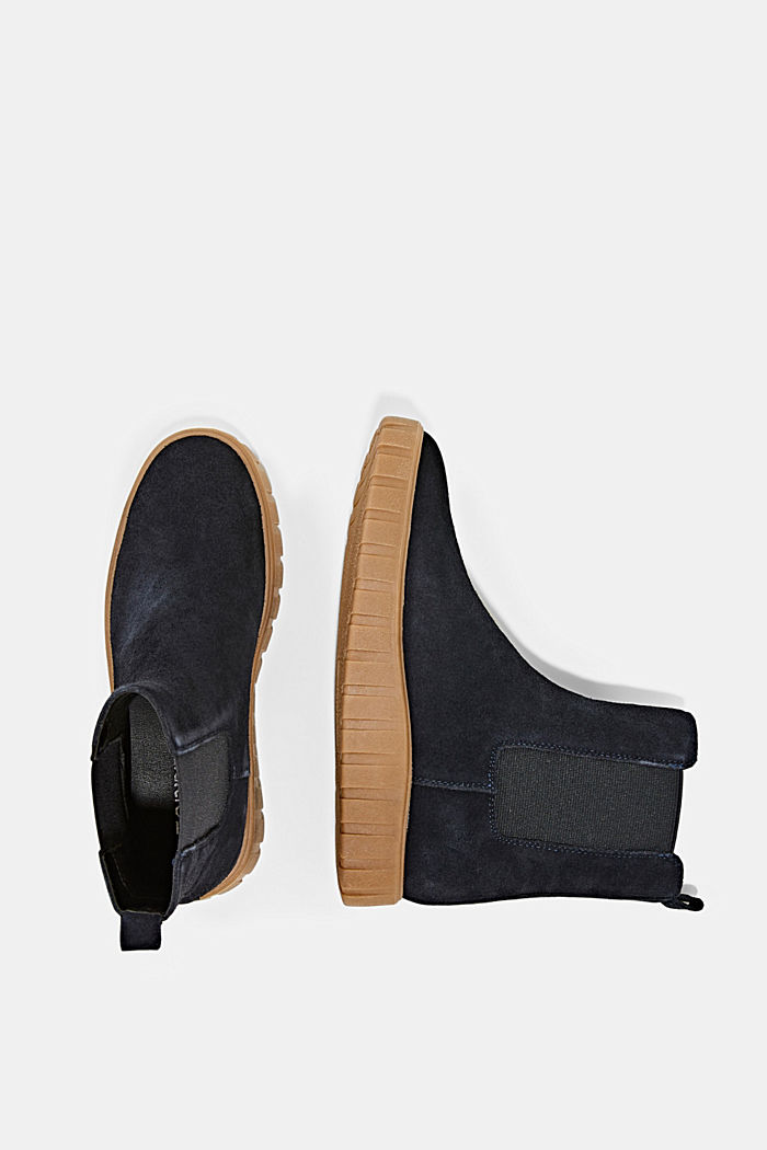 Slip-on boots made of suede with a platform sole, NAVY, detail image number 1