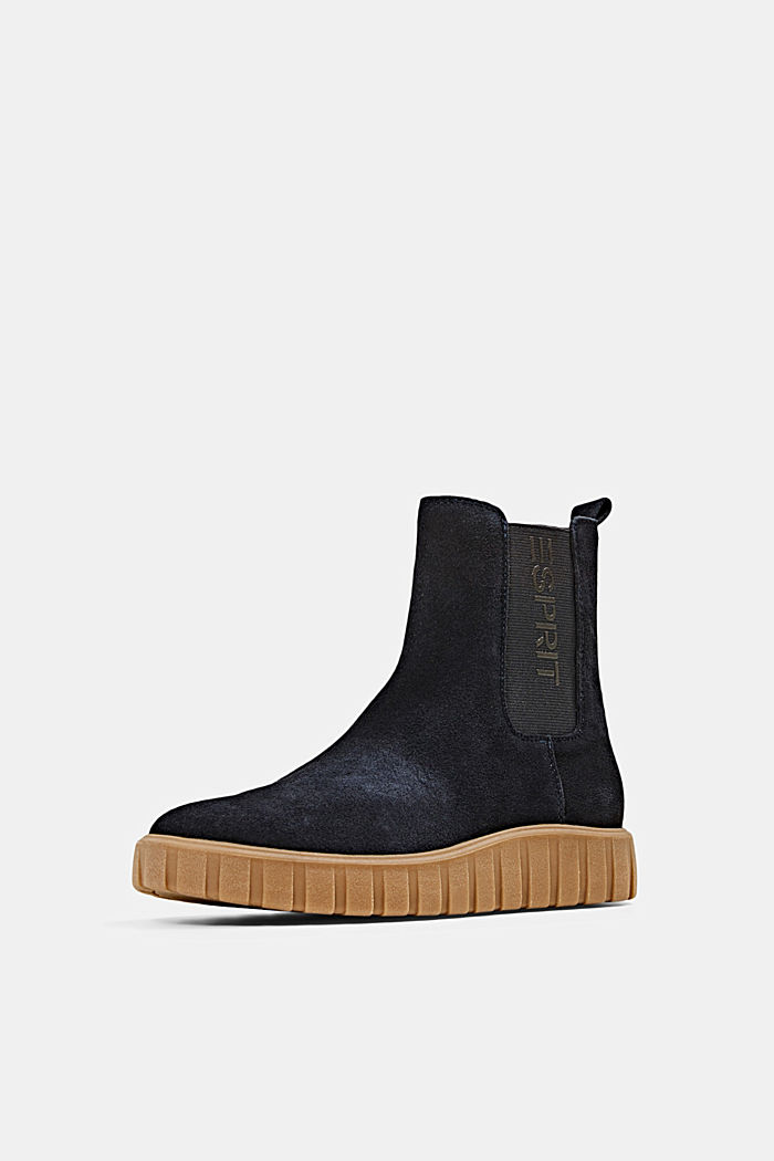 Slip-on boots made of suede with a platform sole, NAVY, detail image number 2