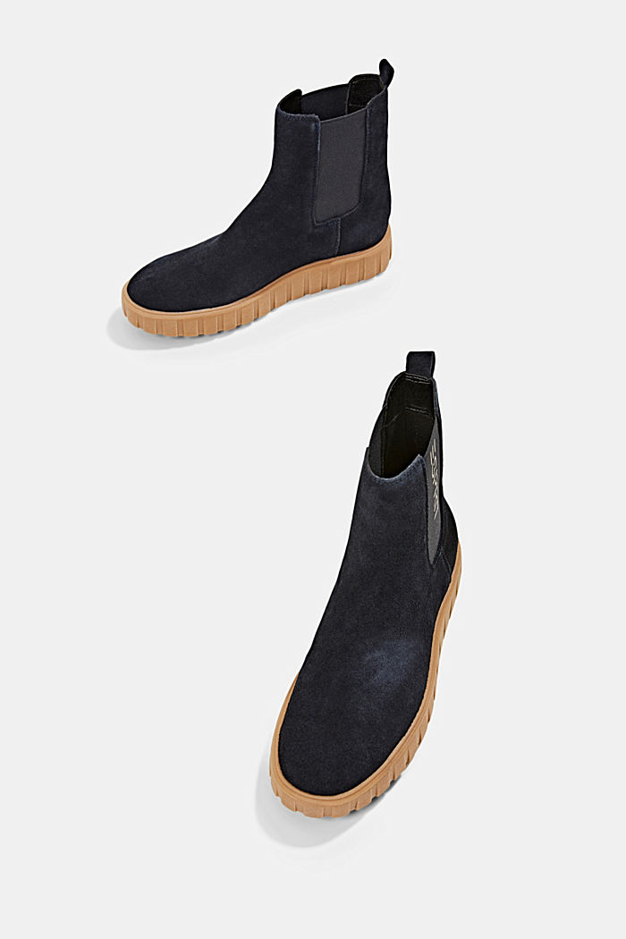 Slip-on boots made of suede with a platform sole, NAVY, detail image number 5