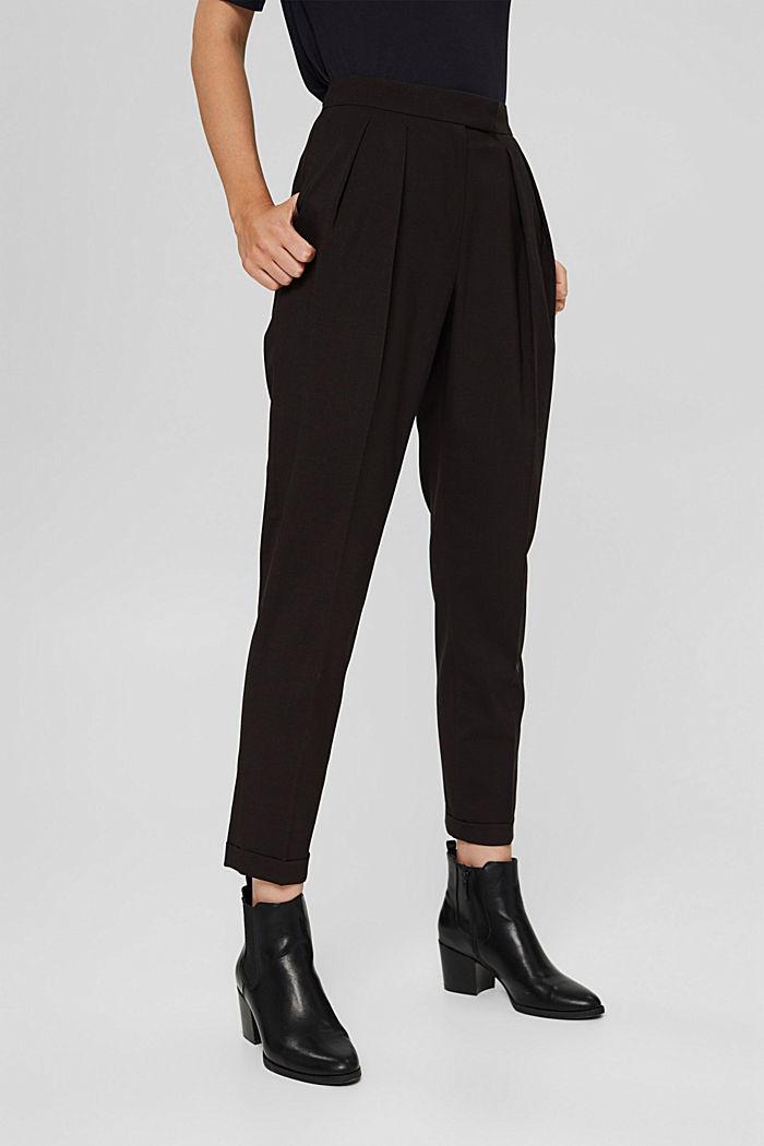 Met wol: enkellange broek met bandplooien, BLACK, detail image number 0