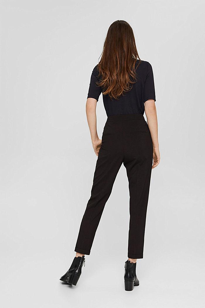 Met wol: enkellange broek met bandplooien, BLACK, detail image number 3
