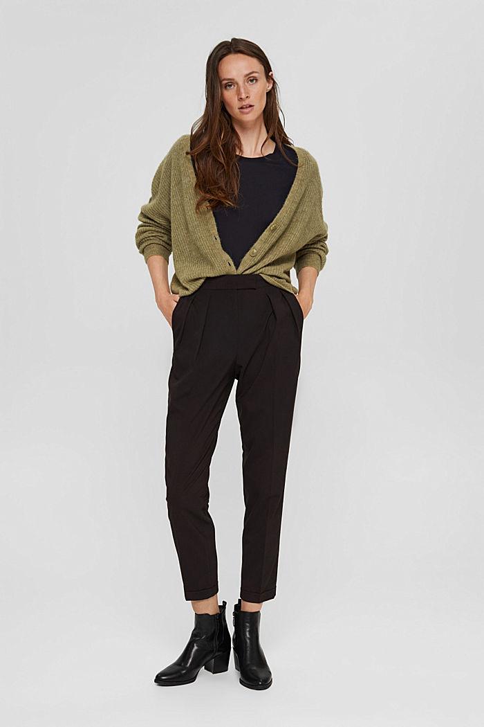 Met wol: enkellange broek met bandplooien, BLACK, detail image number 1