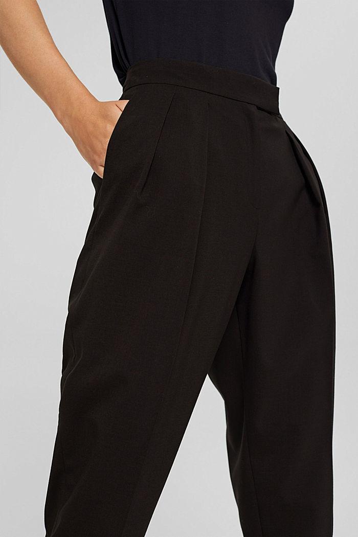 Met wol: enkellange broek met bandplooien, BLACK, detail image number 2