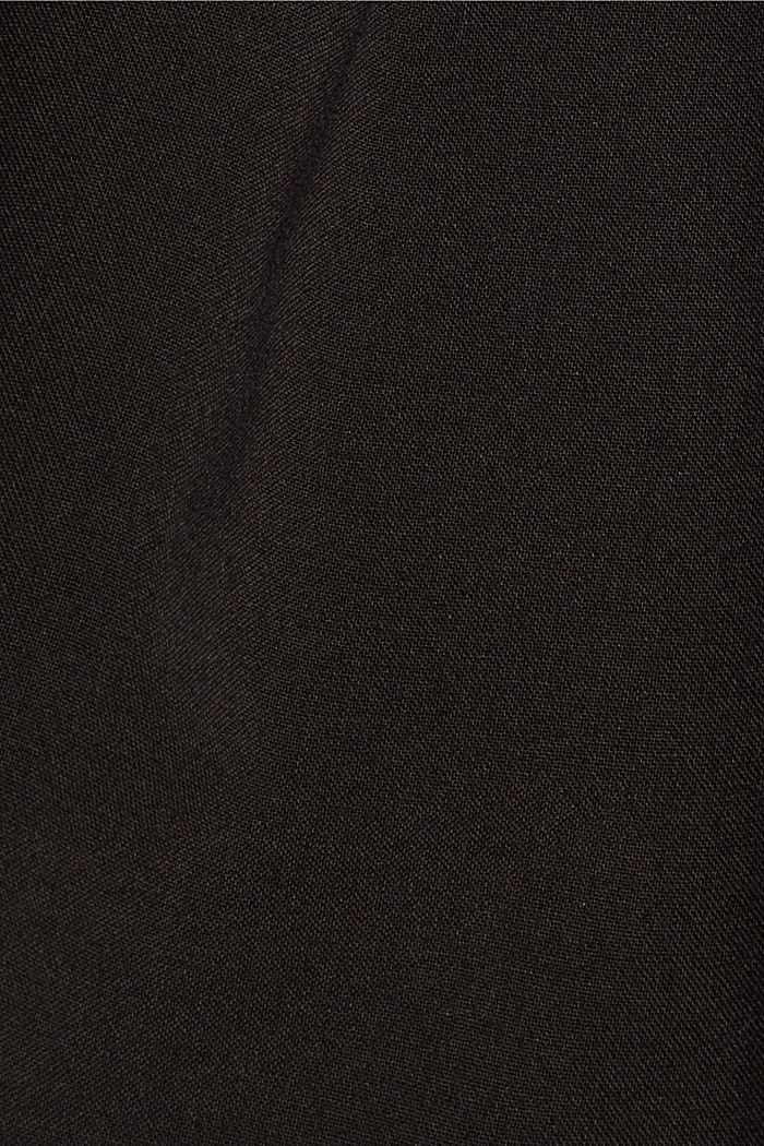 Met wol: enkellange broek met bandplooien, BLACK, detail image number 4