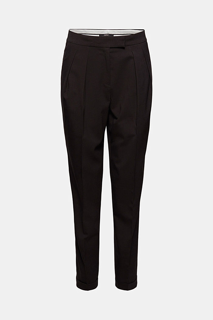 Met wol: enkellange broek met bandplooien, BLACK, detail image number 5