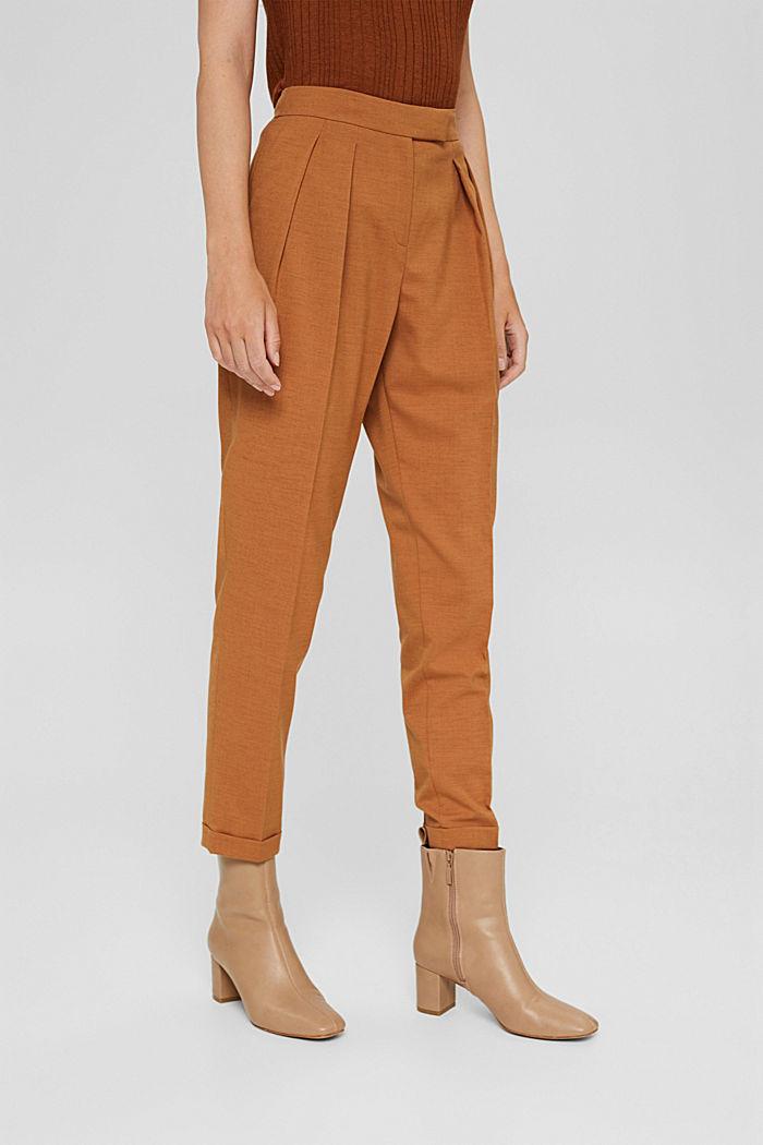 Mit Wolle: knöchellange Hose mit Bundfalten, CARAMEL, detail image number 0