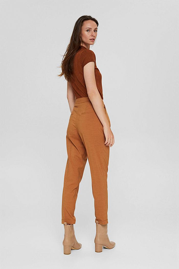 Mit Wolle: knöchellange Hose mit Bundfalten, CARAMEL, detail image number 3