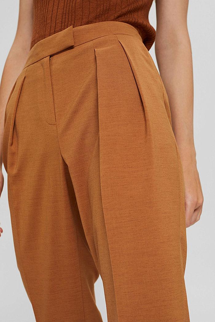 Mit Wolle: knöchellange Hose mit Bundfalten, CARAMEL, detail image number 2