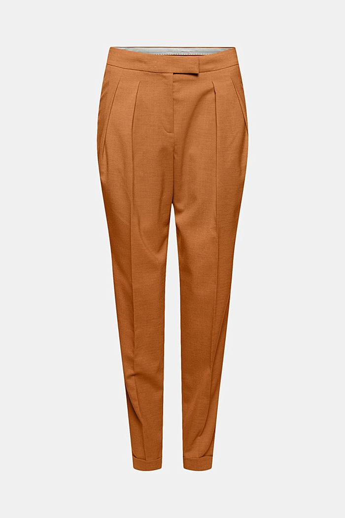 Mit Wolle: knöchellange Hose mit Bundfalten, CARAMEL, detail image number 5