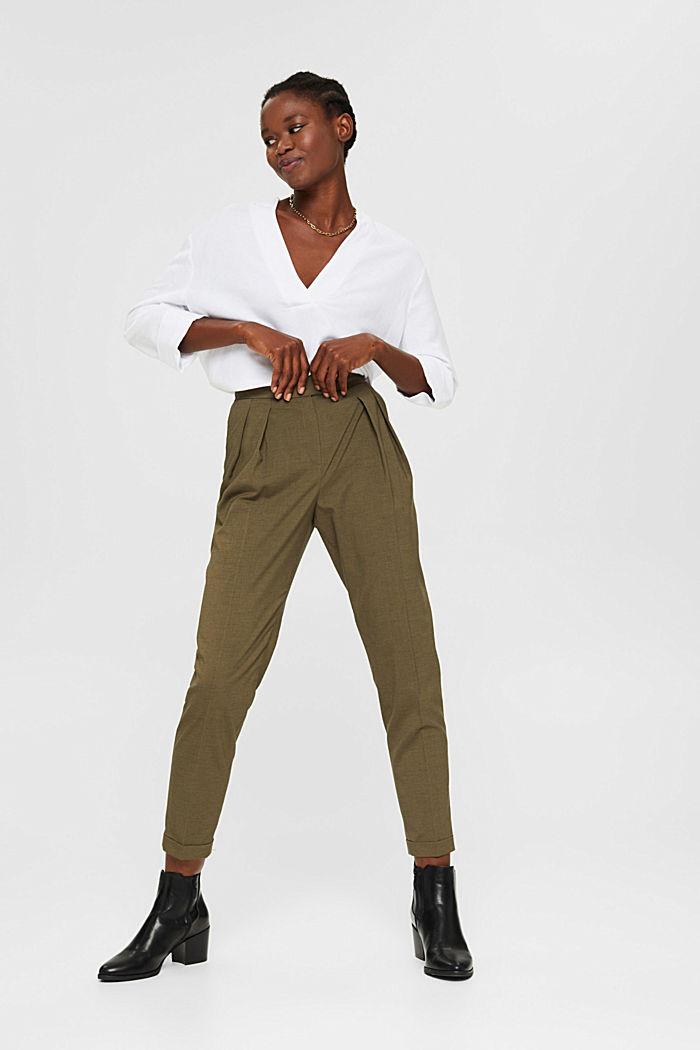 Met wol: enkellange broek met bandplooien, DARK KHAKI, detail image number 1