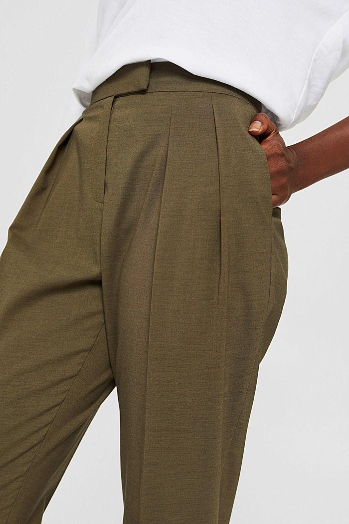 Met wol: enkellange broek met bandplooien, DARK KHAKI, detail image number 2