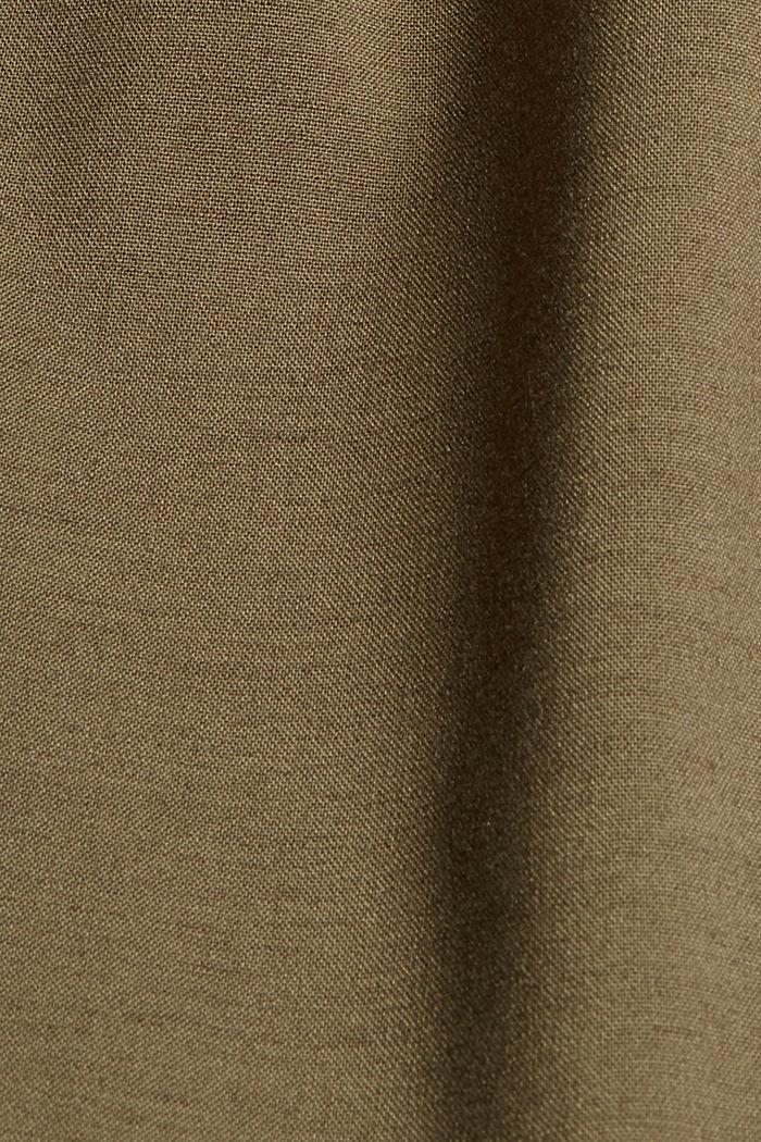 Met wol: enkellange broek met bandplooien, DARK KHAKI, detail image number 4