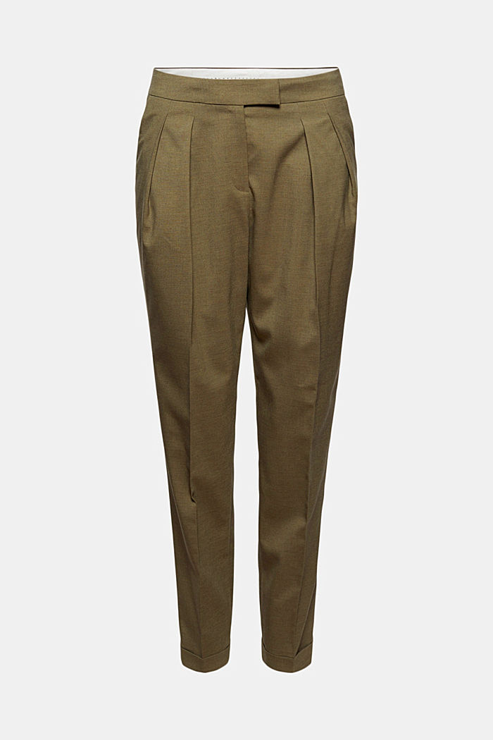 Met wol: enkellange broek met bandplooien, DARK KHAKI, detail image number 6