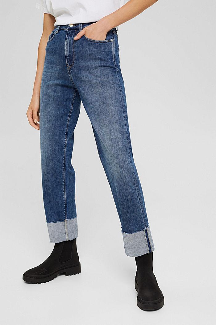 Jeans met omgeslagen zomen, biologisch katoen, BLUE MEDIUM WASHED, detail image number 0