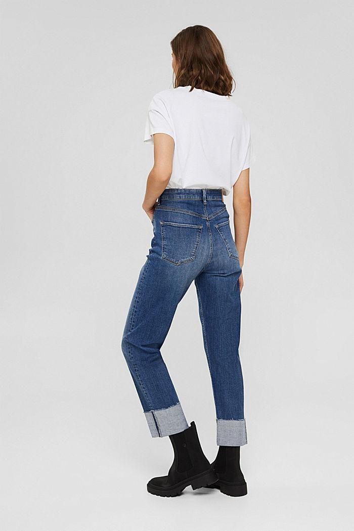 Jeans met omgeslagen zomen, biologisch katoen, BLUE MEDIUM WASHED, detail image number 3