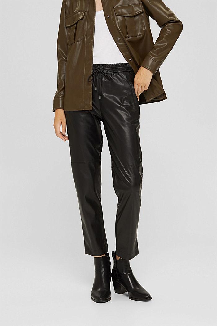 Cropped broek van imitatieleer met band met tunnelkoord, BLACK, detail image number 0