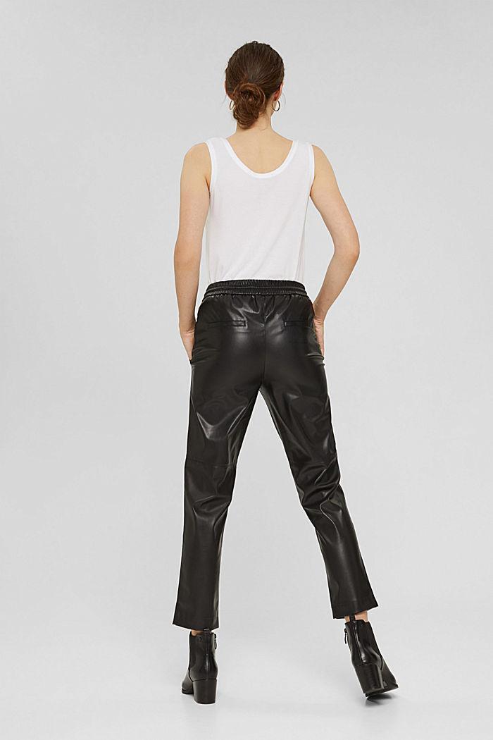 Cropped broek van imitatieleer met band met tunnelkoord, BLACK, detail image number 3
