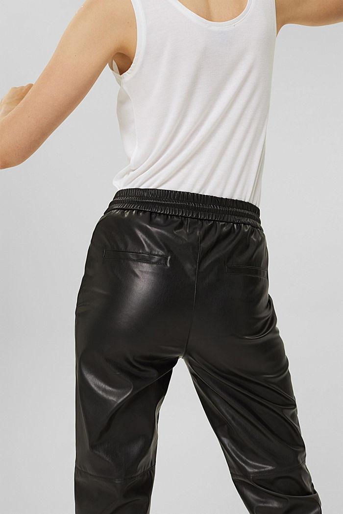 Cropped broek van imitatieleer met band met tunnelkoord, BLACK, detail image number 5