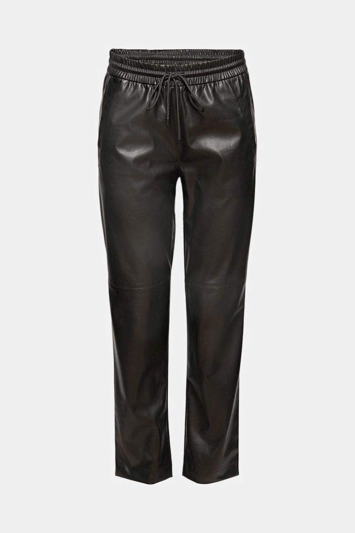 Skrócone spodnie z imitacji skóry ze ściąganym sznurkiem