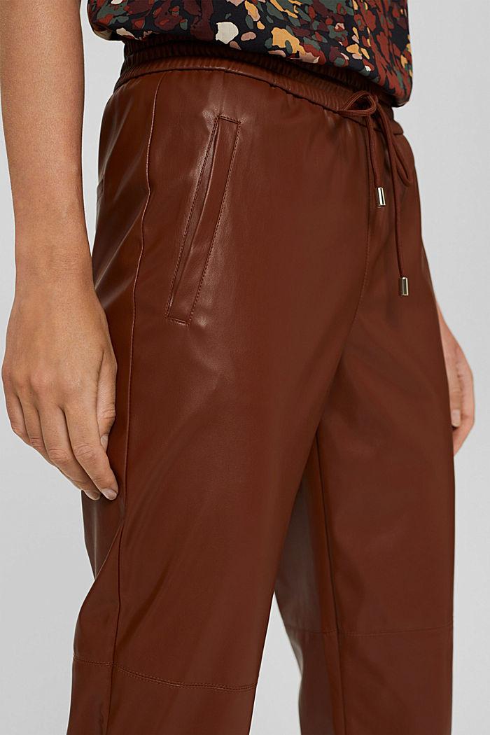 Cropped broek van imitatieleer met band met tunnelkoord, TOFFEE, detail image number 2