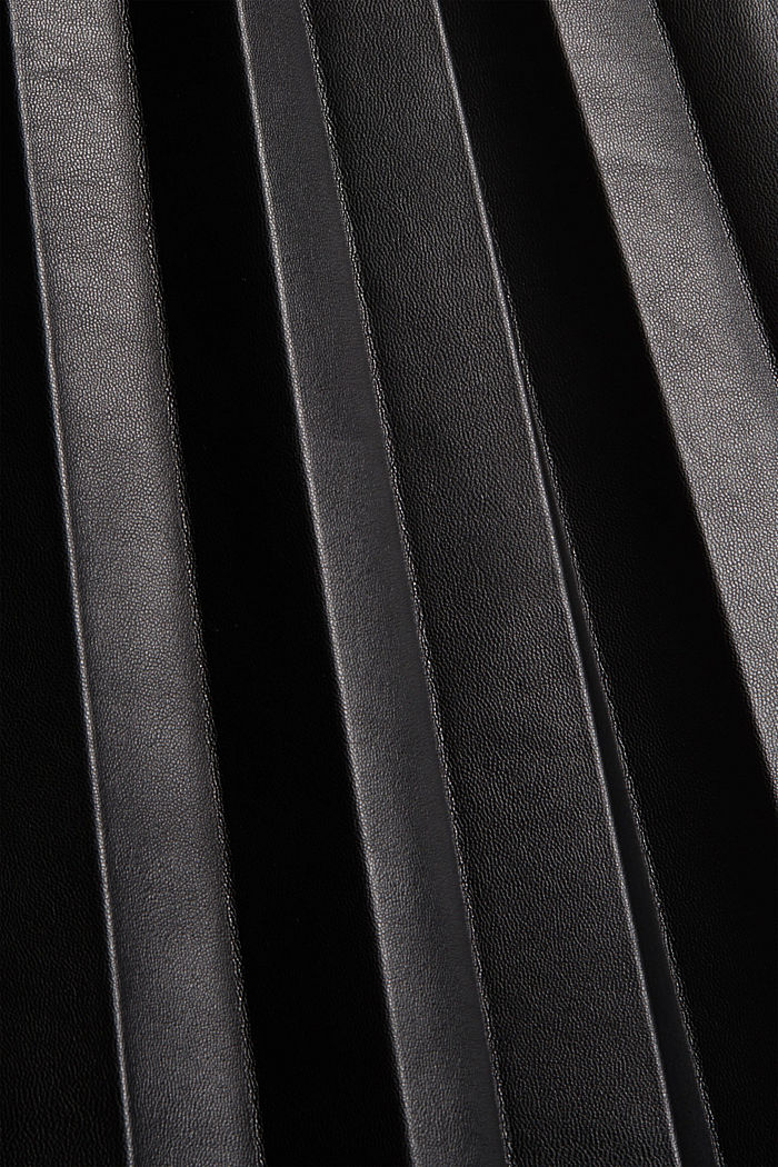Jupe longueur midi en similicuir plissé, BLACK, detail image number 4