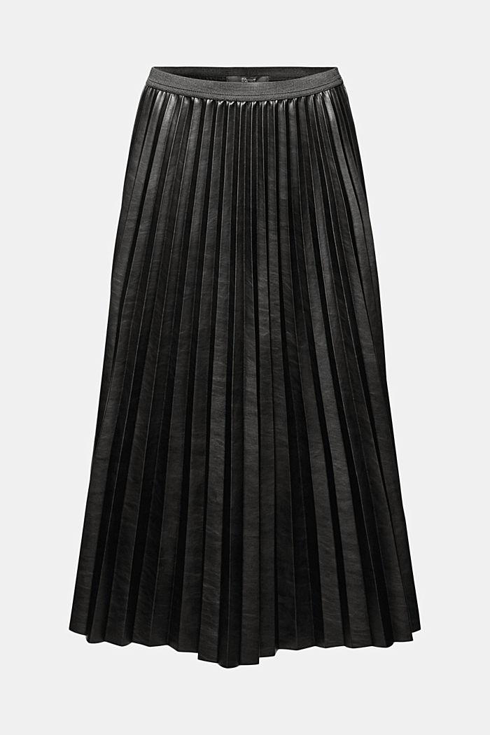Jupe longueur midi en similicuir plissé, BLACK, detail image number 6