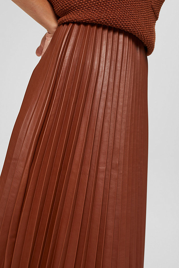 Jupe longueur midi en similicuir plissé, TOFFEE, detail image number 2