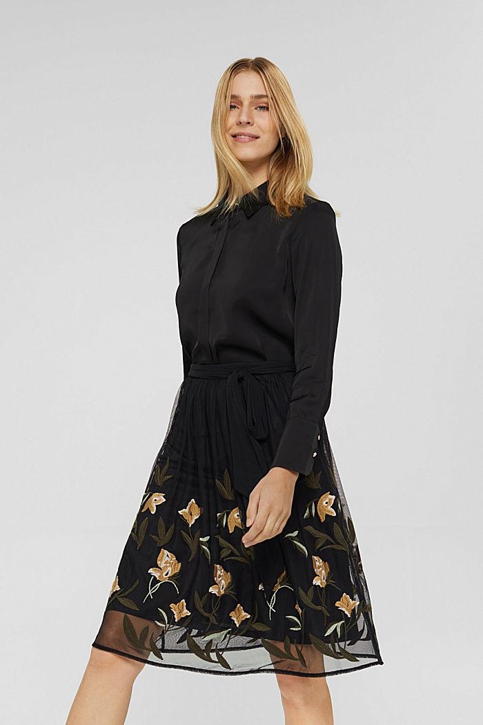 Jupe en mesh à broderie florale, BLACK, detail image number 0