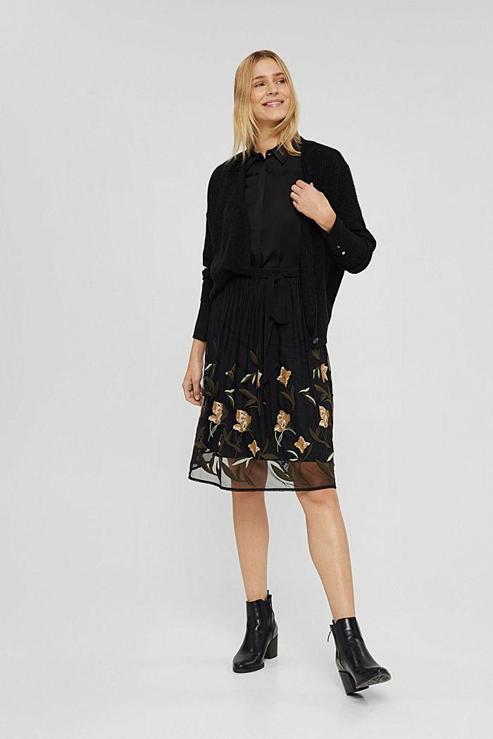 Jupe en mesh à broderie florale, BLACK, detail image number 1