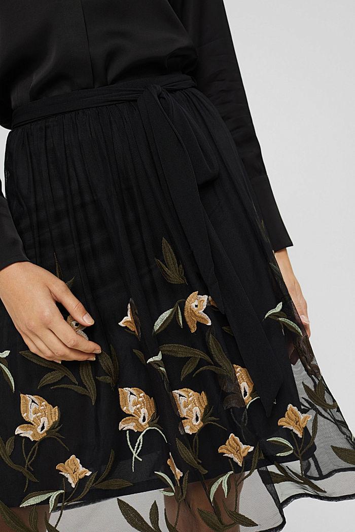 Jupe en mesh à broderie florale, BLACK, detail image number 2