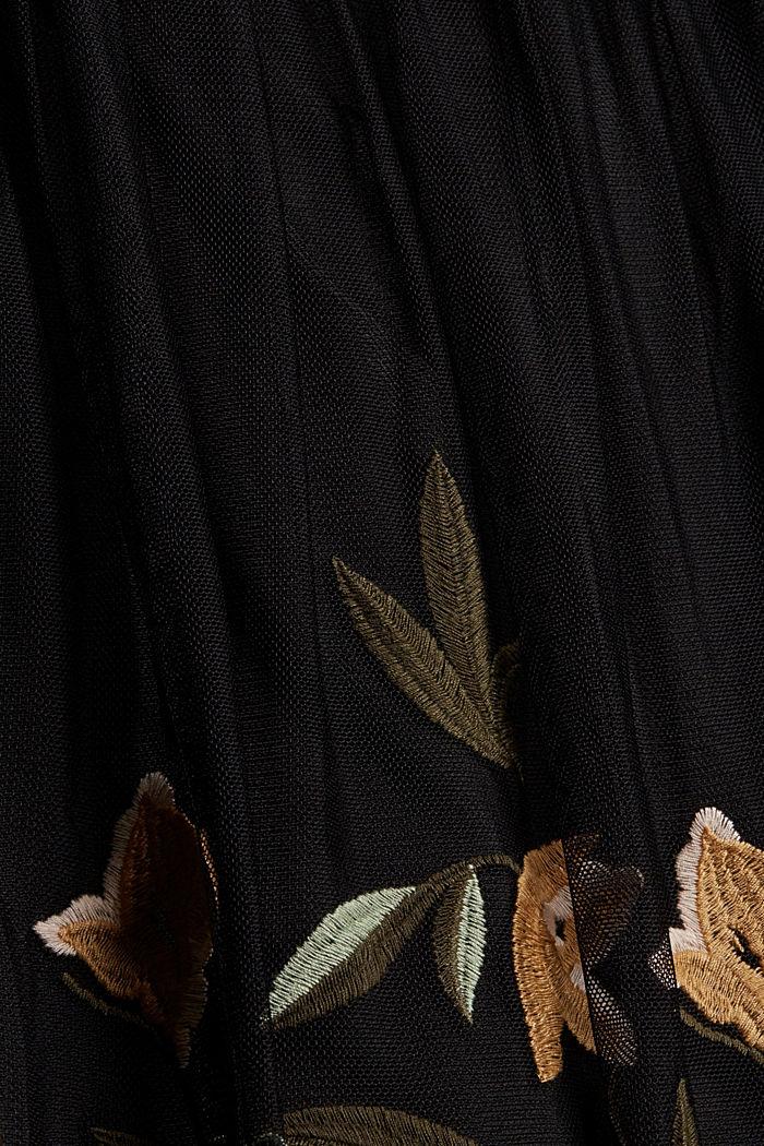 Jupe en mesh à broderie florale, BLACK, detail image number 4