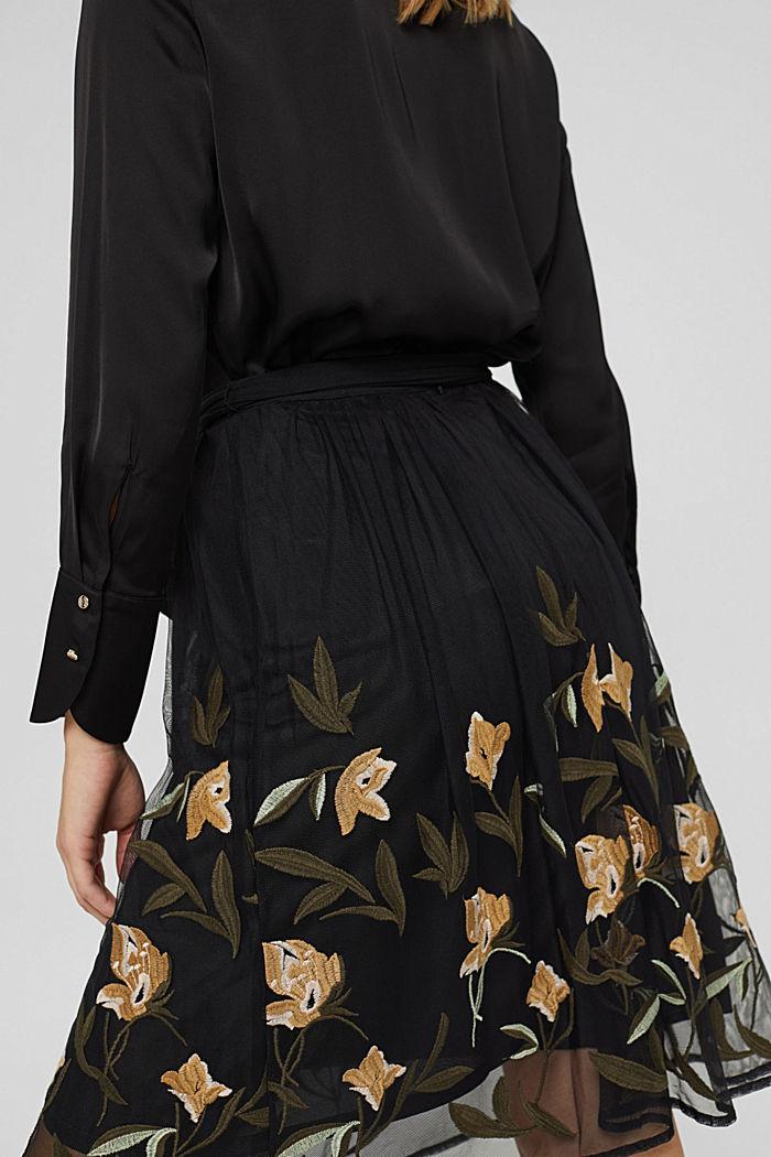 Jupe en mesh à broderie florale, BLACK, detail image number 5
