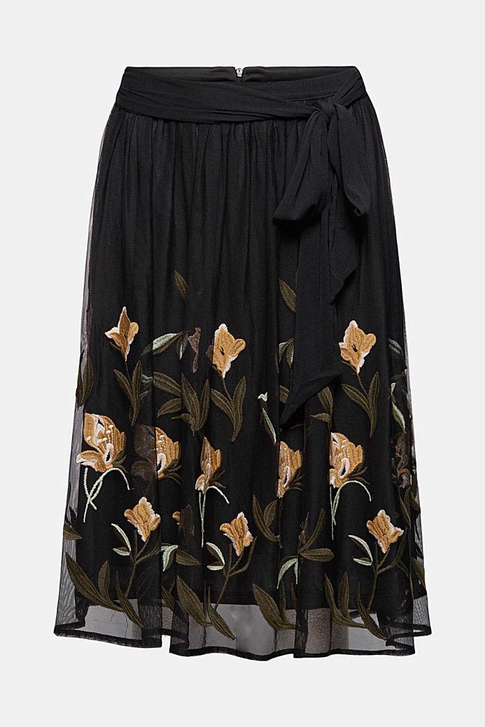 Jupe en mesh à broderie florale, BLACK, detail image number 6