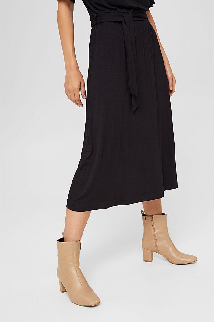 Jersey midi dress made of LENZING™ ECOVERO™, BLACK, detail image number 0