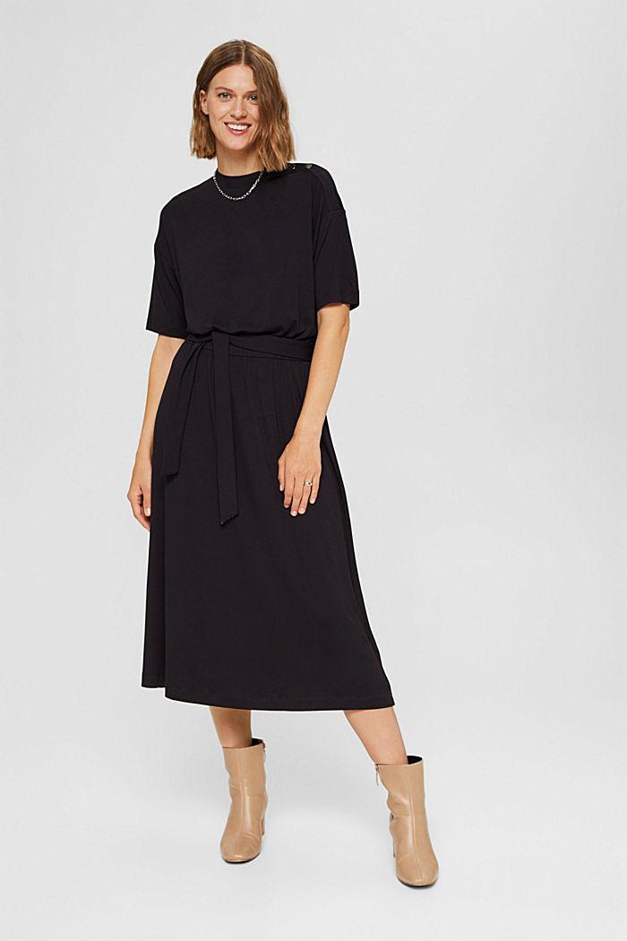 Jersey midi dress made of LENZING™ ECOVERO™, BLACK, detail image number 1